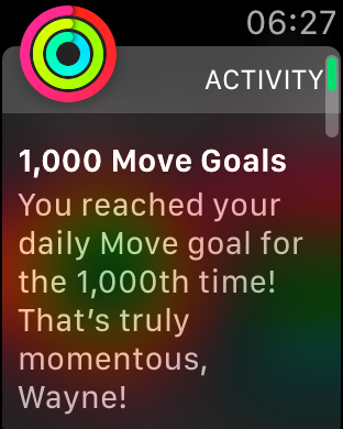 Apple Watch badge message: That's truly momentous!