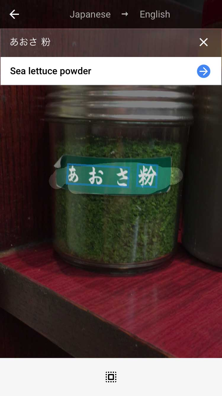 Condiment translation for 'sea lettuce powder', which is likely a mistranslation for seaweed powder.